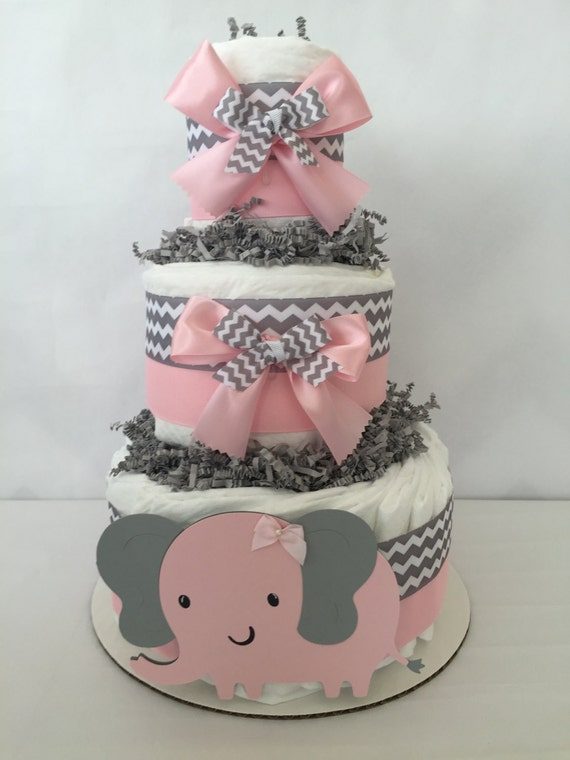 Elephant Diaper Cake For Girls In Pink And Gray Elephant