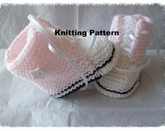Knitting pattern no 1 (instant download) for baby baseball,converse,high tops, sneakers, booties, to knit in size 0-3 months.