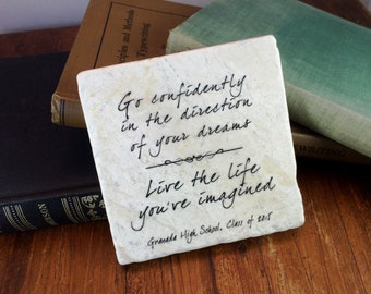 Go Confidently in the Direction of Your Dreams Live the life you've imagined-Henry David Thoreau  Graduation gift plaque keepsake