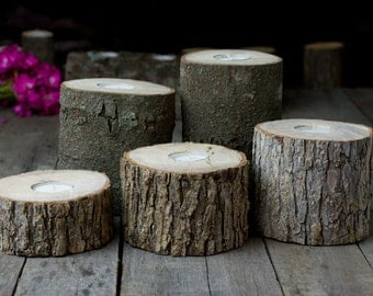 Sliced Log Tea Light Candles Rustic Wedding Country Wedding