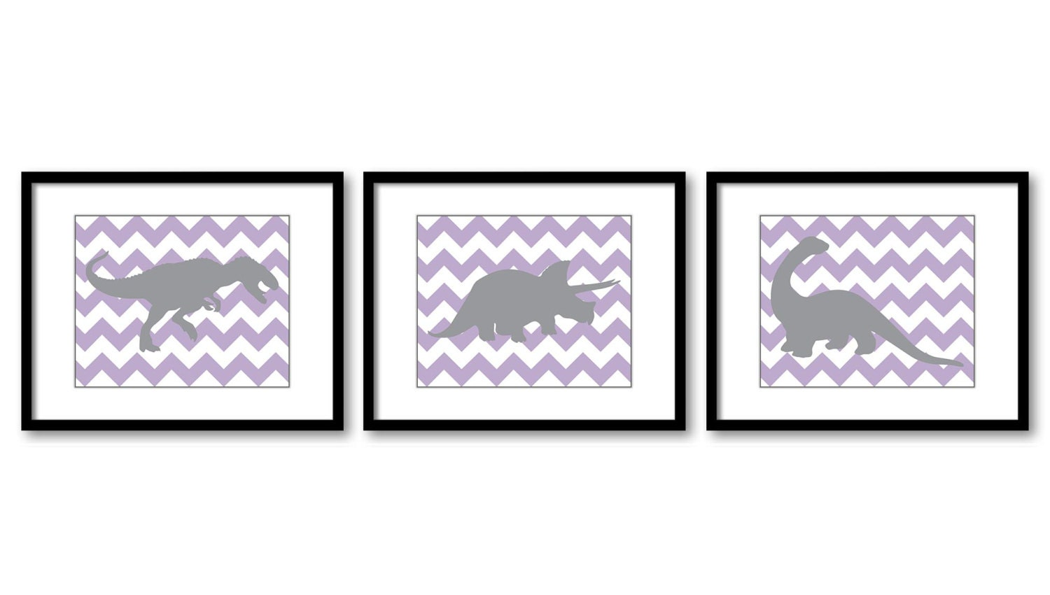 Dinosaur Nursery Art Dinosaurs Prints Set of 3 Prints Purple Grey Chevron Tyrannosaurus Rex Tricerat