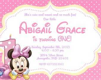 Minnie Mouse Baby First Birthday Party Invitation - Digital or Printed