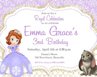 Sofia the First Birthday Party Invitation - Digital or Printed