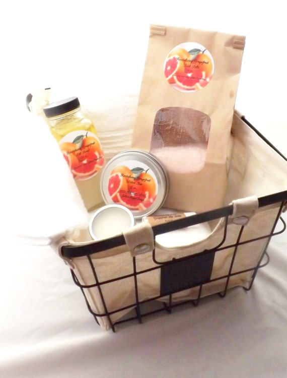 Spa Bath Set with Basket, Super Soft Quick Drying White Towel; Sea Salt Scrub, Lotion Bar, Bath Salts, Sugar Lip Scrub, and Lip Balm