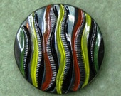 Czech Glass Button 32mm - hand painted - black, red, yellow, green, silver (B32092)