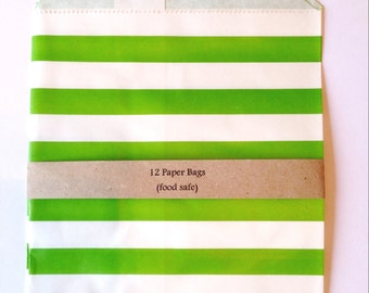 Bright green striped paper bags