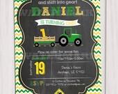 Tractor Birthday Invitation Chalkboard Invitation Farm Birthday Invitation green tractor
