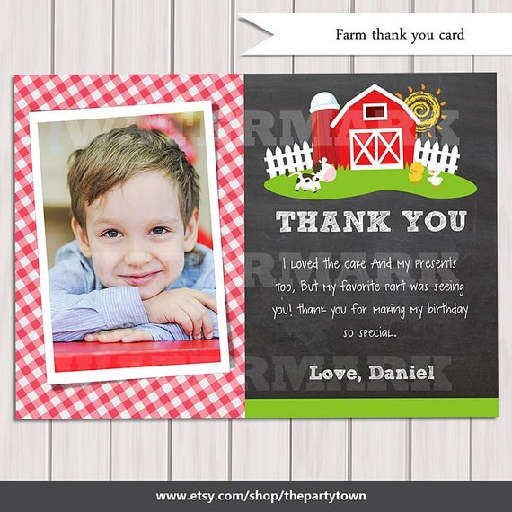 Farm Photo Thank You Card Old Mcdonald Thank You Note Country