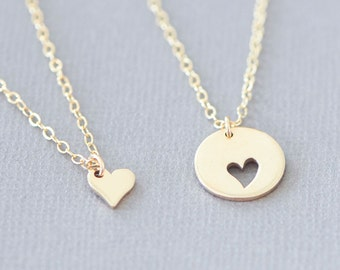 Gold Mother Daughter Heart Necklace, Heart Cutout, Love New Mom, Mothers Day, Mother of Bride, Mother to Be