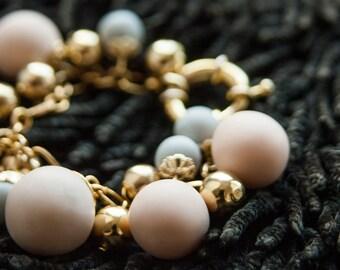 Tribal Bracelet, Mise En Tribal Bracelet, Pink Gold Chain Dangle Bracelet, Polymer Charm Bracelet, Tribal Bracelet, Polymer Clay Bracelet