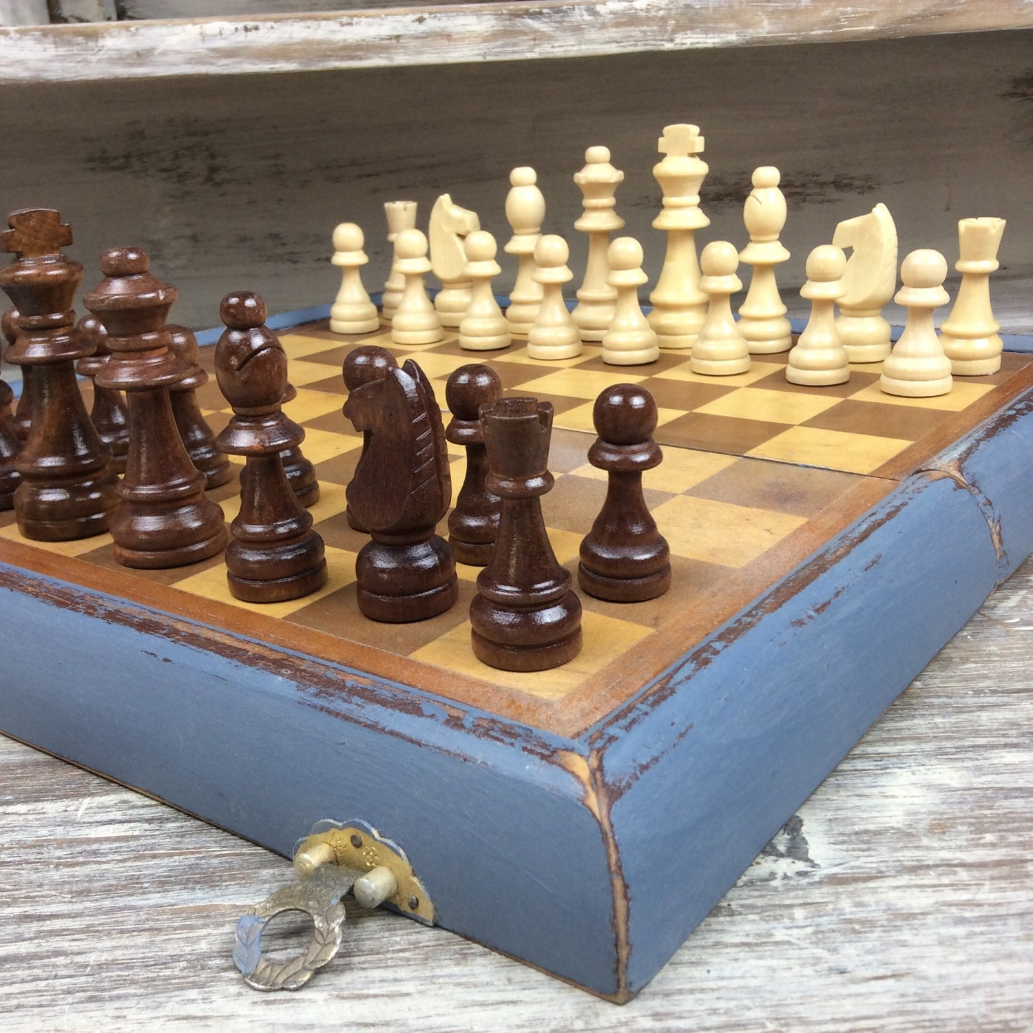 Unique Chess Set Book Style Chess Board With Chess Pieces Wood