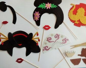 Oriental Photo Booth Props Geisha Wedding Briday Shower Dragon chopsticks Japanese