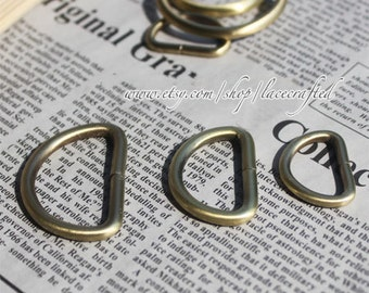 20pcs, 0.5'' ,0.8'', 1inch(inner diameter) Thick Brushed brass D-Ring Buckles For Bags ,Purse Hooks high quality thicker wire