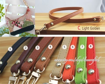 1pc 61x1.2cm  Purse handle purse strap bag leather handle purse leather strap bag handle with Light Golden clasp handle1pc