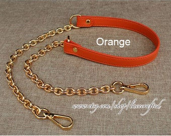 1 pc leather strap bag strap purse strap bag leather strap purse leather strap purse handle bag Orange leather with chain clasp strap