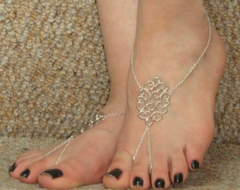 Silver chain barefoot sandals, Silver barefoot sandals, Ankle slave foot, Barefoot sandals UK,  Bare foot sandals