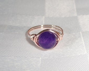 Rose gold wire wrapped amethyst ring,  Amethyst wire wrapped ring, Gemstone ring, Rose gold ring, Purple stone ring