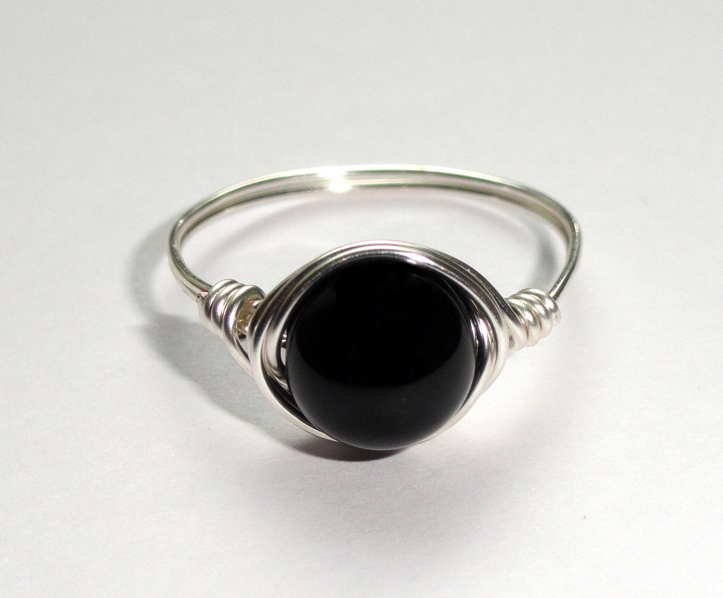 silver onyx wire ring onyx wire wrapped ring gemstone ring