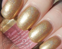 You're Golden Gold Nail Polish by Lacquer Queen Polish - Holographic Gold Nail Lacquer