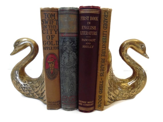 vintage brass swan bookends swan figurines by sandysleaf