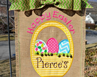 Custom Monogrammed Easter Burlap Garden Flag Personalized with Name