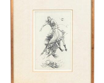 """Edward Borein """"Cowboy Bronco Buster"""" 6x8"""" Western Print"""