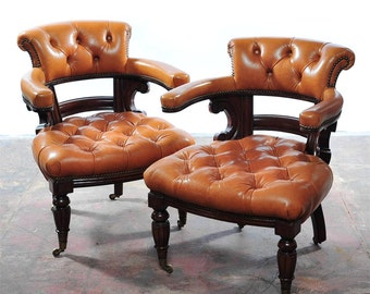 Pair Of Fabulous 1910s Arm Chairs w/Tufted Cowhide Leather-Rare