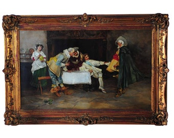 D'artagnan and the three Musketeers- 19th century Fabulous Oil Painting on Canvas-Signed