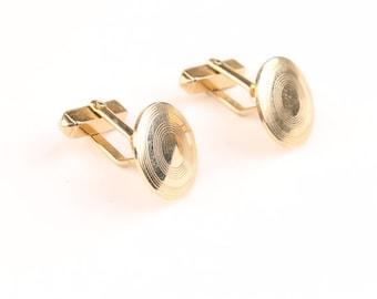Vintage Cufflinks Swank Circles Gold Tone Cuff Links Mens Jewelry