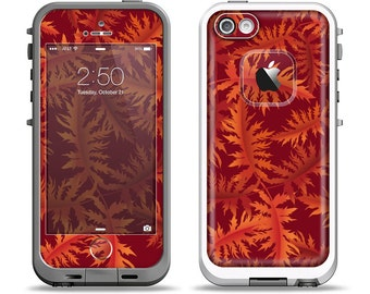 The Vector Fall Red Branches Apple iPhone LifeProof Case Skin Set