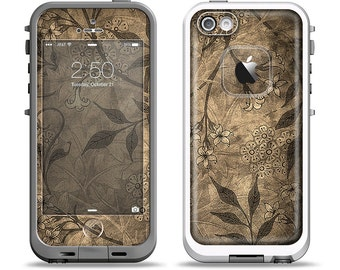 The Brown Aged Floral Pattern Apple iPhone LifeProof Case Skin Set