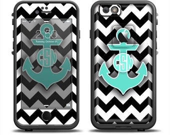The Teal Green Monogram Anchor on Black & White Chevron Apple iPhone 6 LifeProof Fre Case Skin Set (Other Models Available!)