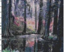 Cross Stitch Pattern Cypress Gardens Florida PDF Instant Download Digital File Nature Scenery Landscape Cross Stitch Chart