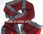 Made to Order, Hand Woven Red, Black and White Scarf in Soft Pure Wool, Classic Fashion Scarf, Custom Order Only