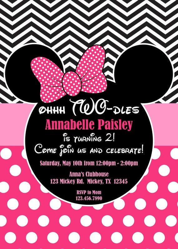 Pink Minnie Mouse Oh Twodles Birthday Invites Pink Minnie – Minnie and Mickey Birthday Invitations