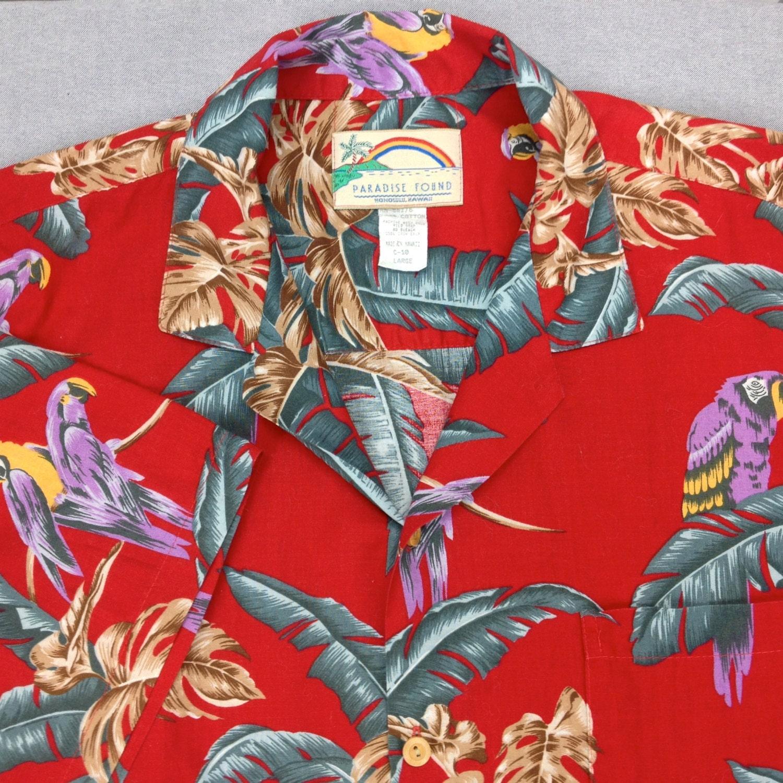 magnum pi paradise found hawaiian shirt red parrot motif
