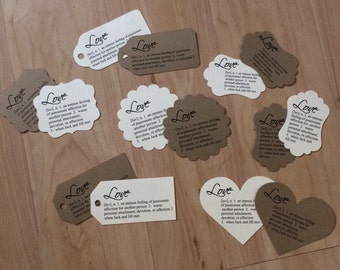 LOVE Tags - Personlized • Set of 25 •  Wedding •  Favors •  Showers • Thank you