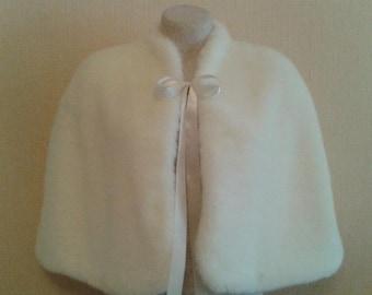 Winter Wedding Faux Fur Capelet Bride's Cape  white or Ivory faux fur