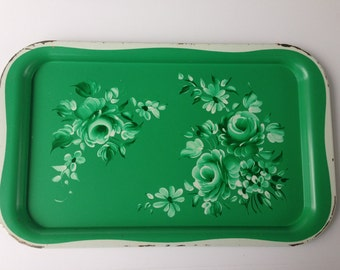 Vintage Green Metal Tray, Snack Tray, Serving Tray, Green Floral, Kitchen Decor