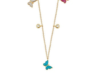 Multicolored Butterlies 14k Solid Gold Enameled Necklace