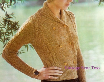DK 8ply LIGHT Worsted Double breasted Cardigan & Hat 34-40ins - Bellmans 1564  - PDF of  Vintage Ladies Knitting Patterns