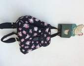 Zakka style||Floral backpack Pink Roses on black.