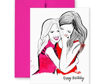 Birthday Hugs - Greeting Card, Friends, Illustration