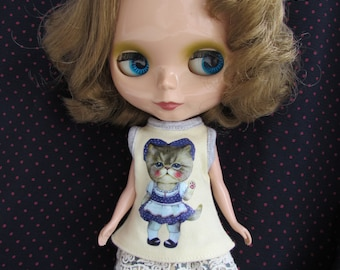 Blythe Doll Outfit Clothing Cat Print Yellow Tee