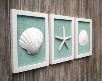 Cottage Chic Set Of Beach Wall Art, Sea Shells Home Decor, Beach Wall Art