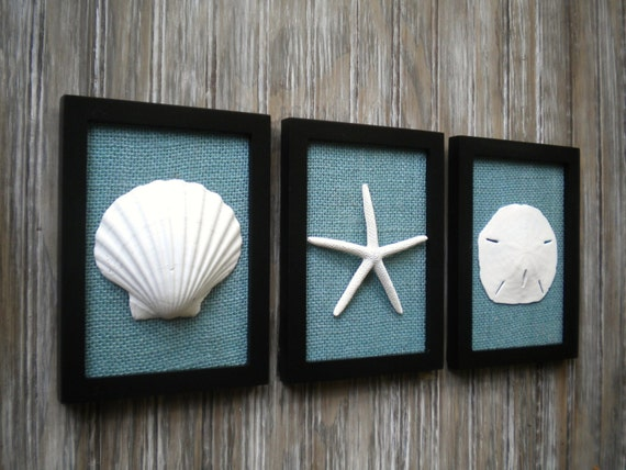 Cottage Chic Set Of Beach Wall Art Art Sea Shells Home Decor Beach
