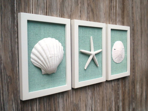 Cottage Chic Set Of Beach Wall Art Sea Shells Home Decor Beach Wall