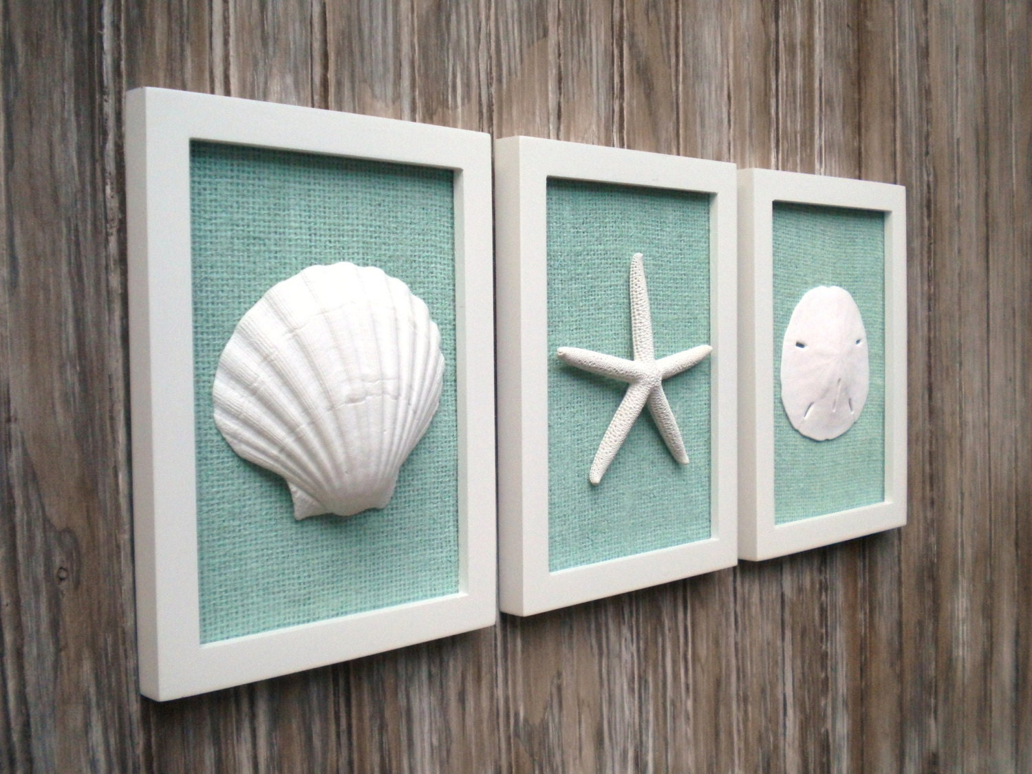 Costal Bathroom Decor: Cottage Chic Set Of Beach Wall Art Sea Shells Home Decor