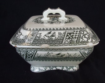 "Antique ""Melton"" Wedgwood covered dish, Aesthetic Movement Transferware circa 1880"