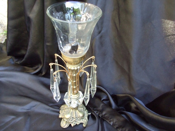 Vintage modified waterfall lamp with glass icicle crystals for Waterfall lamp shade